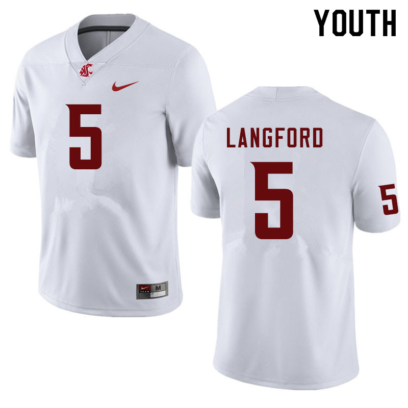 Youth #5 Derrick Langford Washington State Cougars College Football Jerseys Sale-White
