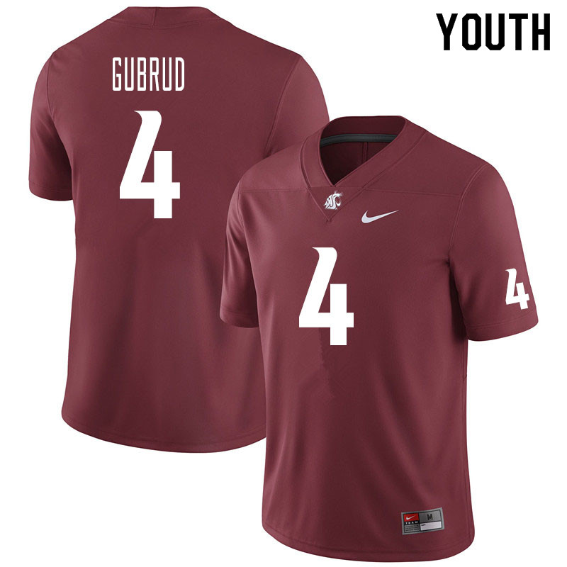Youth #4 Gage Gubrud Washington State Cougars College Football Jerseys Sale-Crimson