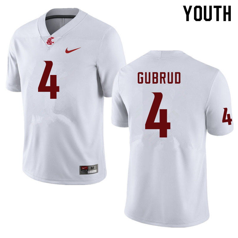 Youth #4 Gage Gubrud Washington State Cougars College Football Jerseys Sale-White