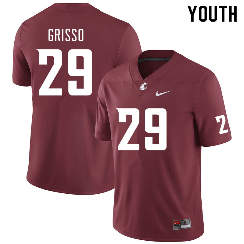 Youth #29 Gatlin Grisso Washington State Cougars College Football Jerseys Sale-Crimson
