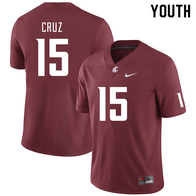 Youth #15 Gunner Cruz Washington State Cougars College Football Jerseys Sale-Crimson