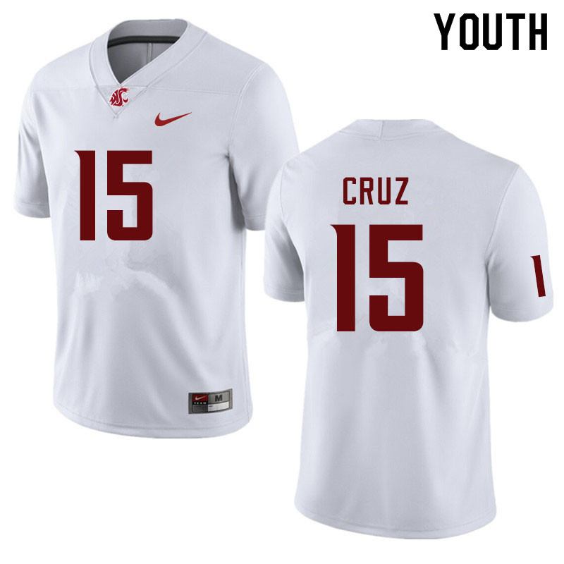 Youth #15 Gunner Cruz Washington State Cougars College Football Jerseys Sale-White