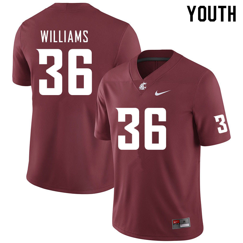 Youth #36 Kedron Williams Washington State Cougars College Football Jerseys Sale-Crimson