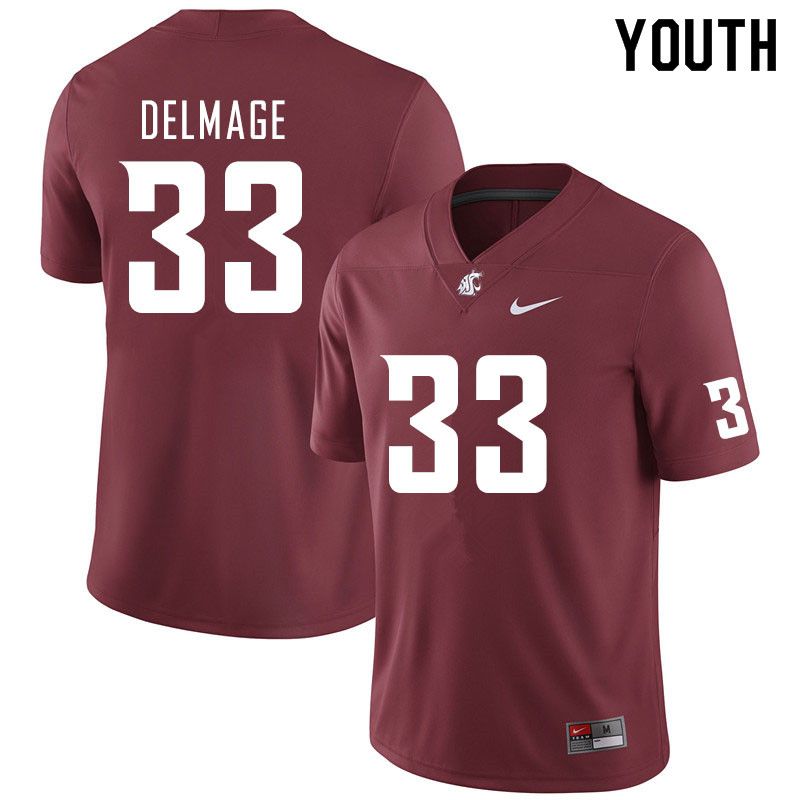 Youth #33 Mitchell Delmage Washington State Cougars College Football Jerseys Sale-Crimson