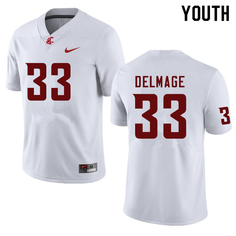 Youth #33 Mitchell Delmage Washington State Cougars College Football Jerseys Sale-White