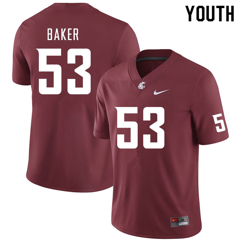 Youth #53 Ricky Baker Washington State Cougars College Football Jerseys Sale-Crimson