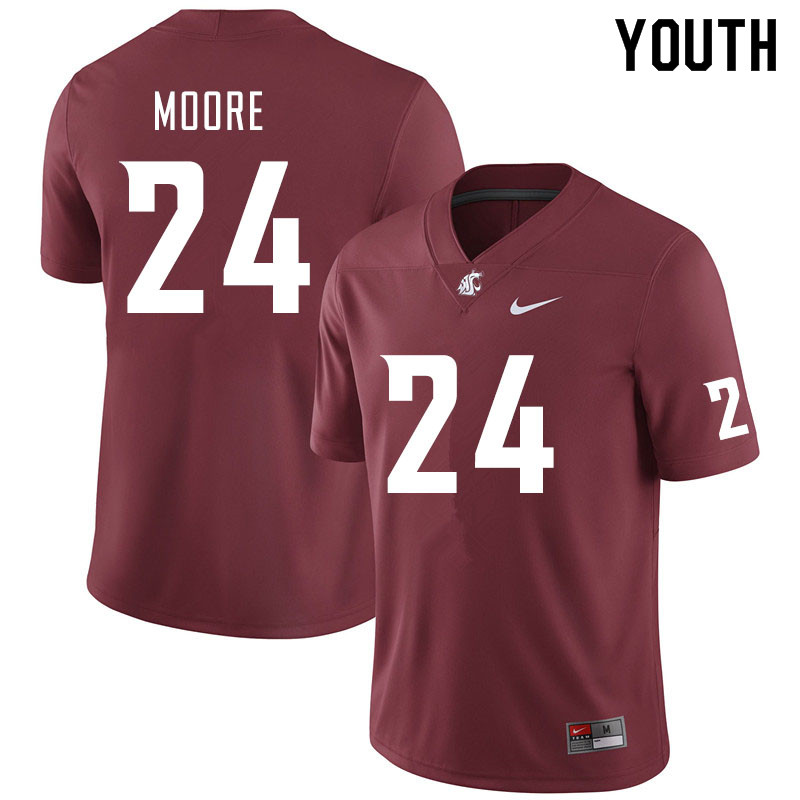 Youth #24 Shahman Moore Washington State Cougars College Football Jerseys Sale-Crimson