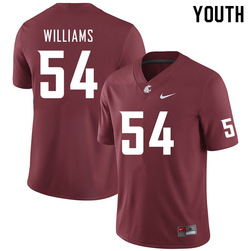 Youth #54 Tyler Williams Washington State Cougars College Football Jerseys Sale-Crimson