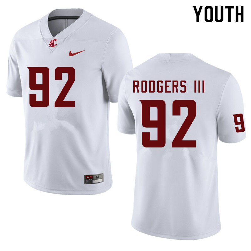 Youth #92 Will Rodgers III Washington State Cougars College Football Jerseys Sale-White
