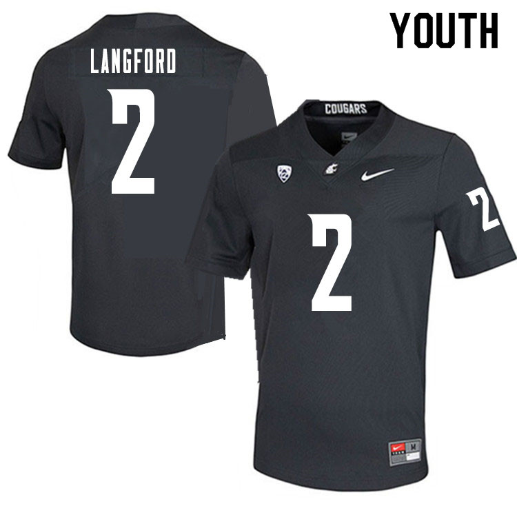 Youth #2 Derrick Langford Washington State Cougars College Football Jerseys Sale-Charcoal