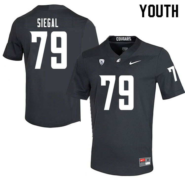Youth #79 Jake Siegal Washington State Cougars College Football Jerseys Sale-Charcoal