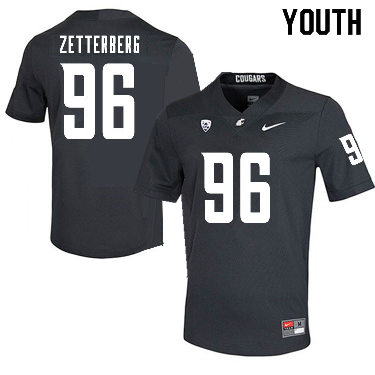 Youth #96 Johan Zetterberg Washington State Cougars College Football Jerseys Sale-Charcoal
