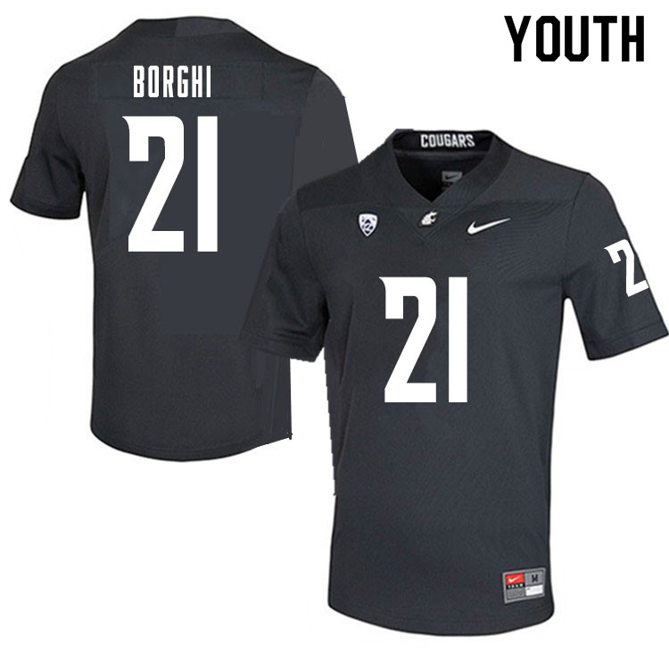 Youth #21 Max Borghi Washington State Cougars College Football Jerseys Sale-Charcoal