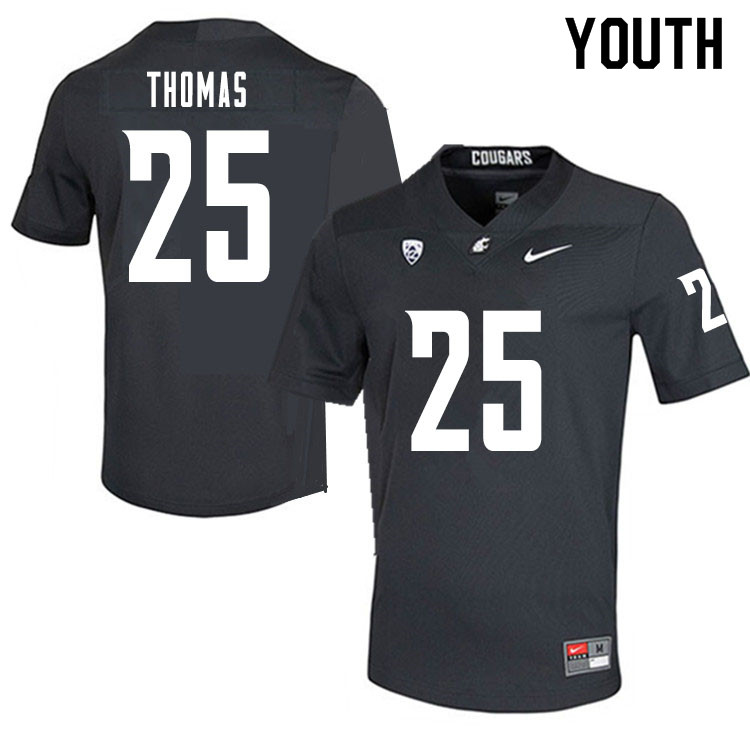 Youth #25 Skyler Thomas Washington State Cougars College Football Jerseys Sale-Charcoal