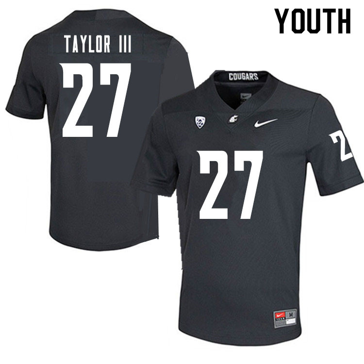 Youth #27 Willie Taylor III Washington State Cougars College Football Jerseys Sale-Charcoal