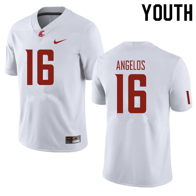 Youth #16 Aaron Angelos Washington State Cougars Football Jerseys Sale-White