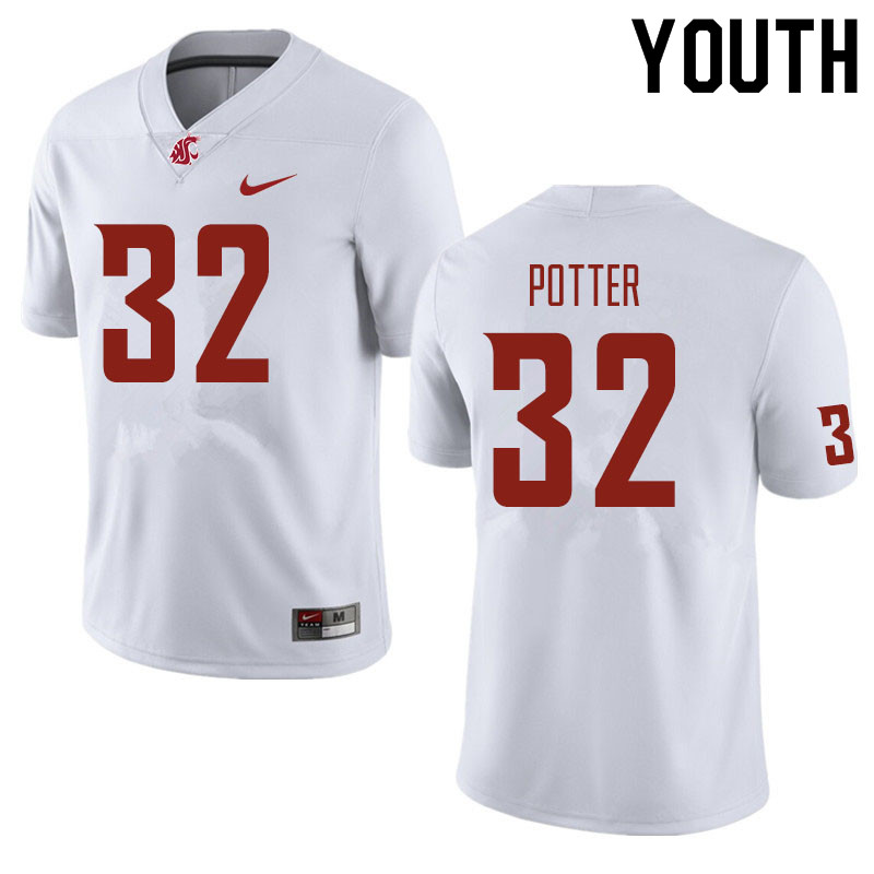 Youth #32 Braeden Potter Washington State Cougars Football Jerseys Sale-White