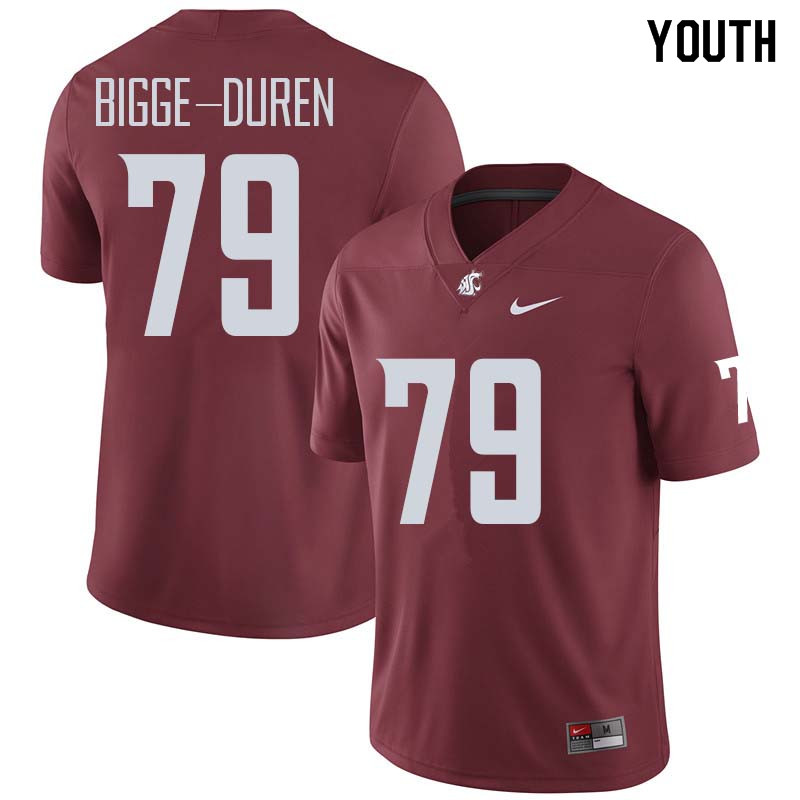 Youth #79 Cedric Bigge-Duren Washington State Cougars College Football Jerseys Sale-Crimson