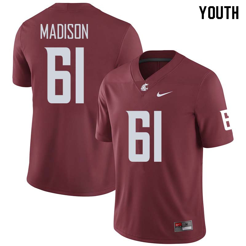 Youth #61 Cole Madison Washington State Cougars College Football Jerseys Sale-Crimson