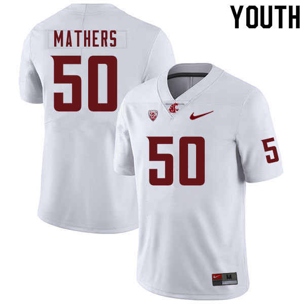 Youth #50 Cooper Mathers Washington Cougars College Football Jerseys Sale-White