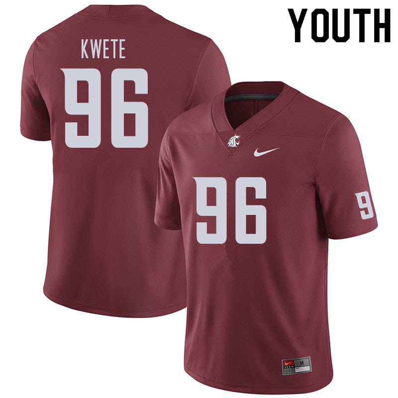 Youth #96 Cosmas Kwete Washington State Cougars Football Jerseys Sale-Crimson