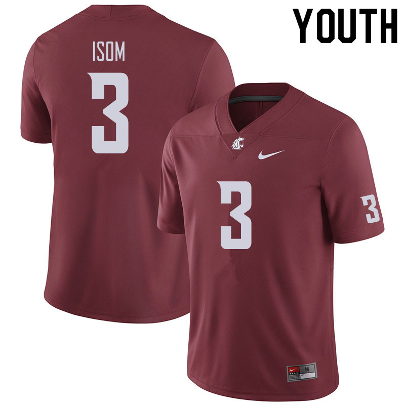 Youth #3 Daniel Isom Washington State Cougars Football Jerseys Sale-Crimson