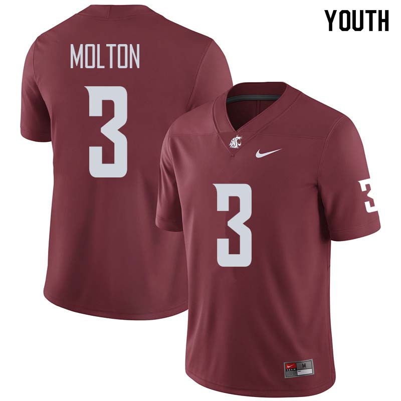 Youth #3 Darrien Molton Washington State Cougars College Football Jerseys Sale-Crimson