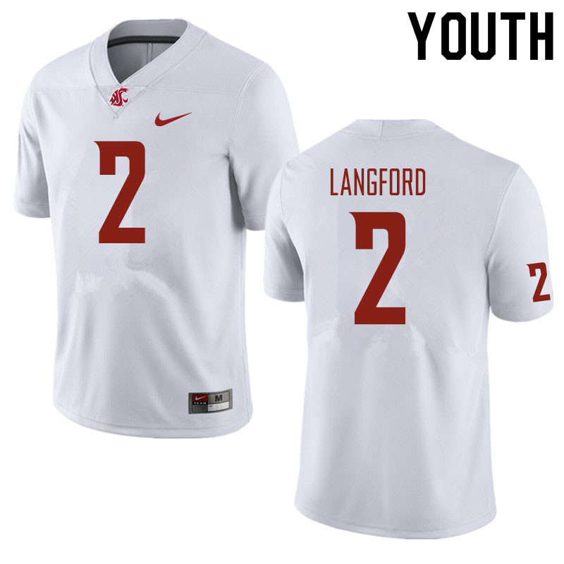 Youth #2 Derrick Langford Washington State Cougars Football Jerseys Sale-White