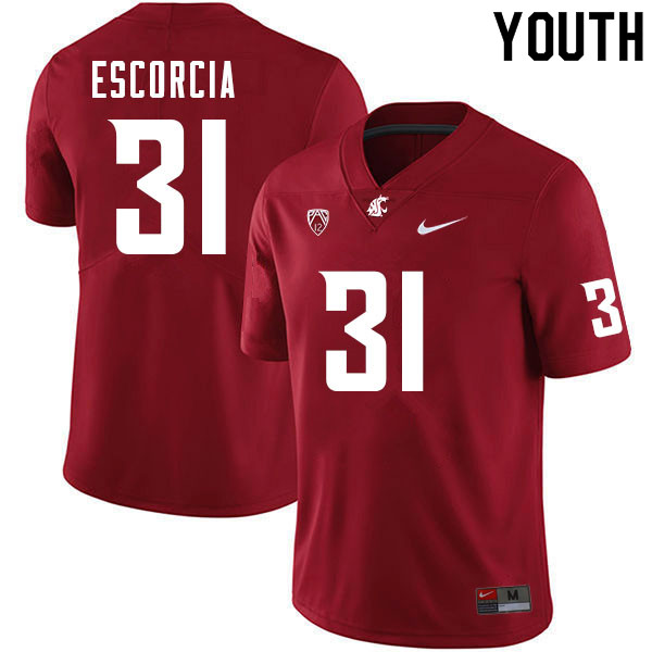 Youth #31 Hunter Escorcia Washington Cougars College Football Jerseys Sale-Crimson