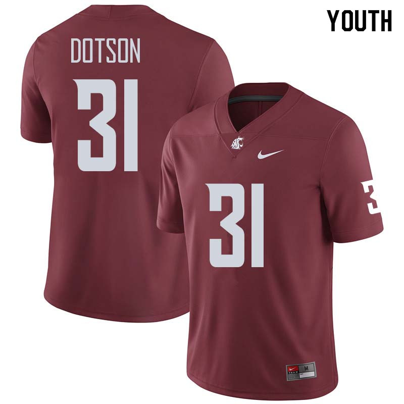 Youth #31 Isaac Dotson Washington State Cougars College Football Jerseys Sale-Crimson
