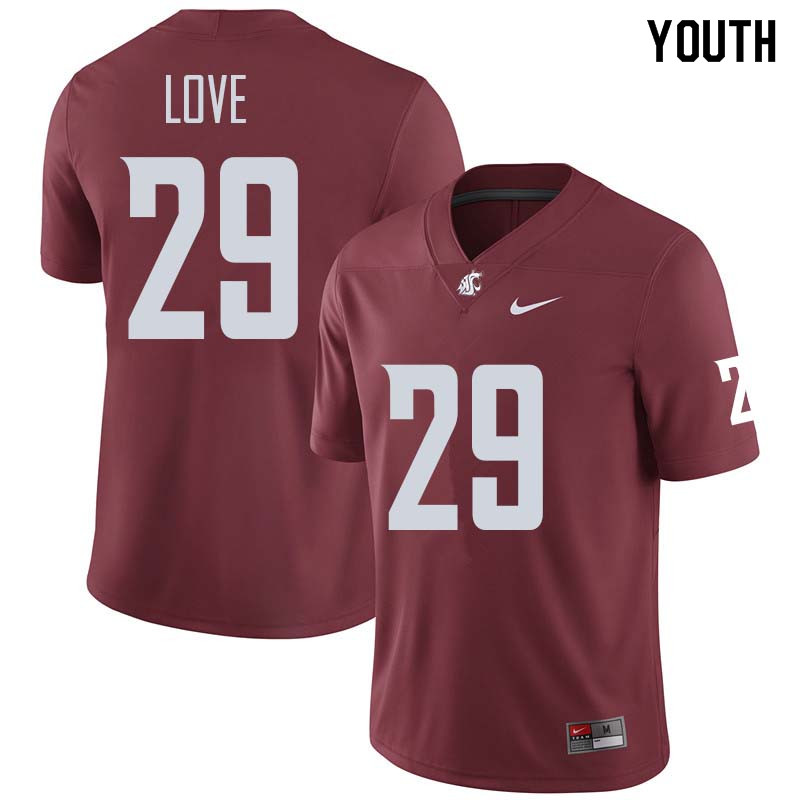 Youth #29 Isaiah Love Washington State Cougars College Football Jerseys Sale-Crimson