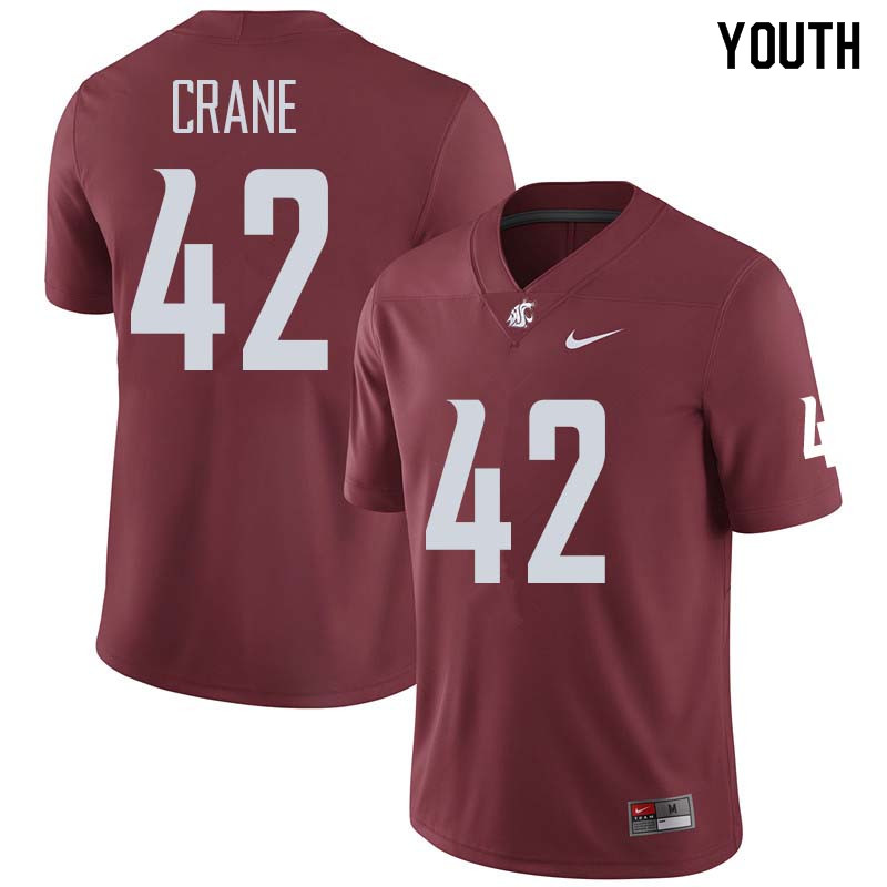 Youth #42 Jack Crane Washington State Cougars College Football Jerseys Sale-Crimson