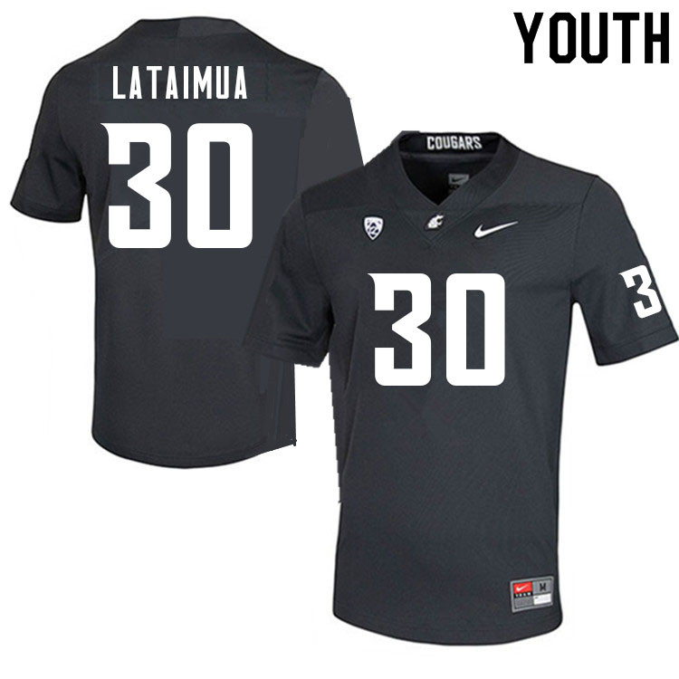 Youth #30 Jackson Lataimua Washington Cougars College Football Jerseys Sale-Charcoal