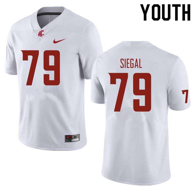 Youth #79 Jake Siegal Washington State Cougars Football Jerseys Sale-White