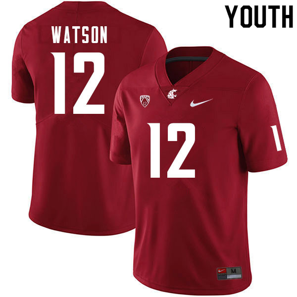 Youth #12 Jaylen Watson Washington Cougars College Football Jerseys Sale-Crimson