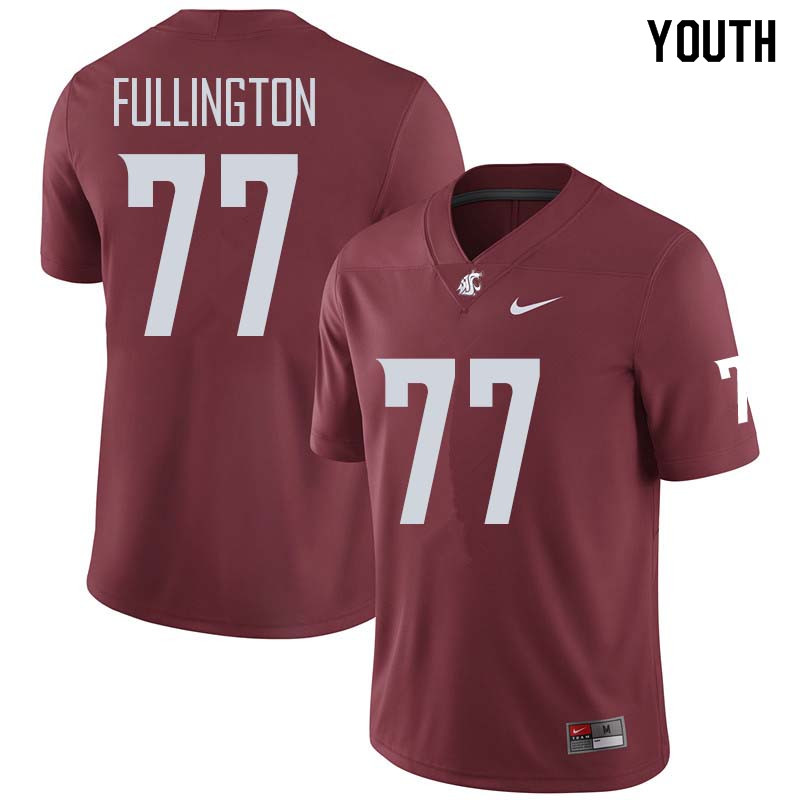 Youth #77 John Fullington Washington State Cougars College Football Jerseys Sale-Crimson