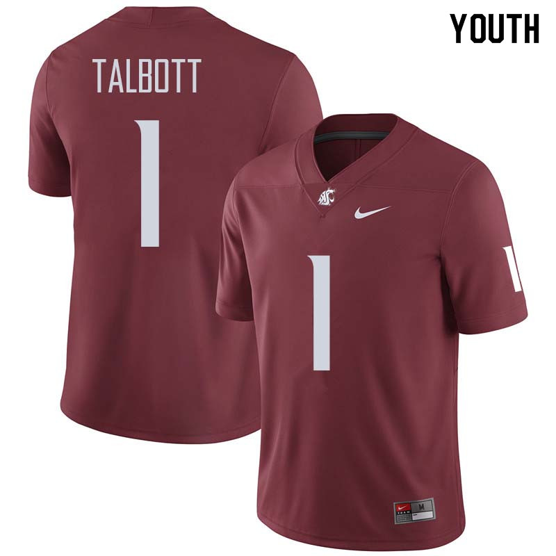 Youth #1 Josh Talbott Washington State Cougars College Football Jerseys Sale-Crimson