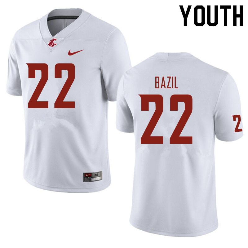 Youth #22 Jouvensly Bazil Washington State Cougars Football Jerseys Sale-White