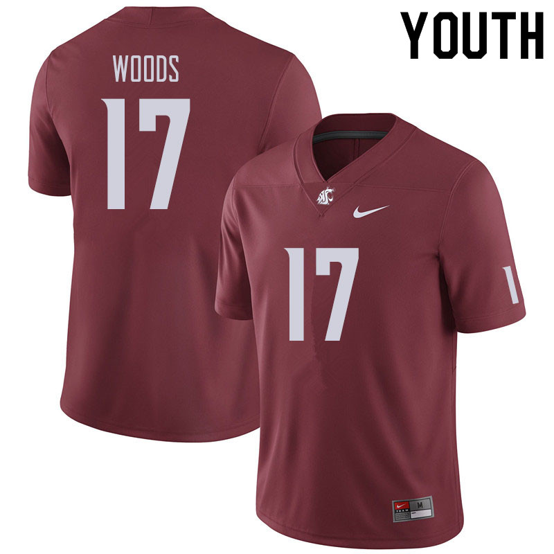 Youth #17 Kassidy Woods Washington State Cougars Football Jerseys Sale-Crimson
