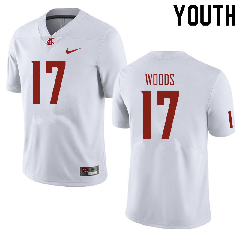 Youth #17 Kassidy Woods Washington State Cougars Football Jerseys Sale-White