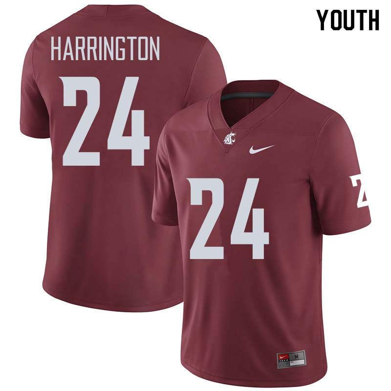 Youth #24 Keith Harrington Washington State Cougars College Football Jerseys Sale-Crimson