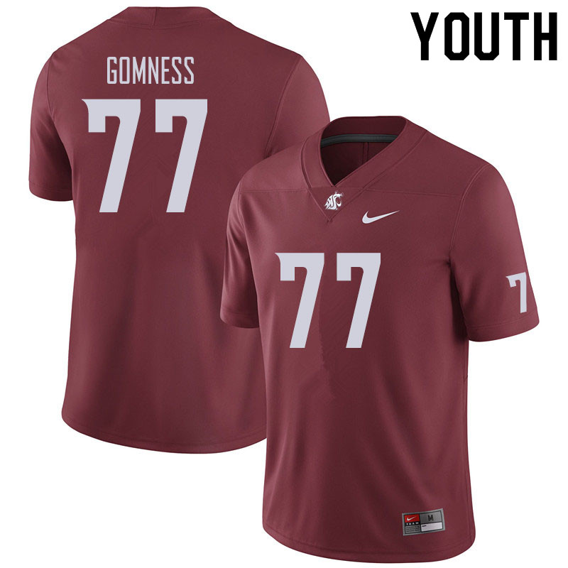 Youth #77 Konner Gomness Washington State Cougars Football Jerseys Sale-Crimson