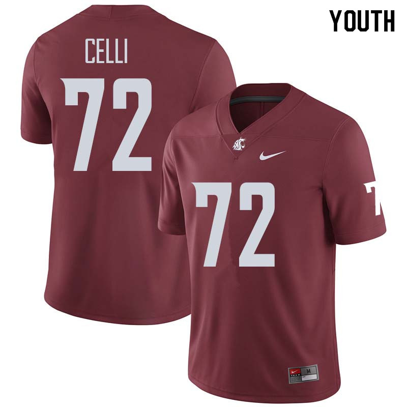 Youth #72 Kyle Celli Washington State Cougars College Football Jerseys Sale-Crimson