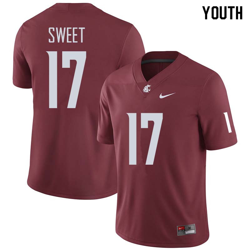 Youth #17 Kyle Sweet Washington State Cougars College Football Jerseys Sale-Crimson