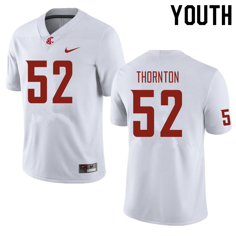 Youth #52 Kyle Thornton Washington State Cougars Football Jerseys Sale-White