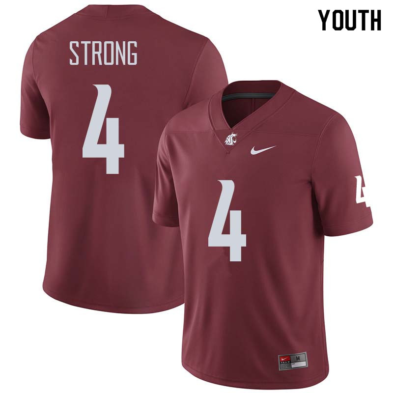 Youth #4 Marcus Strong Washington State Cougars College Football Jerseys Sale-Crimson