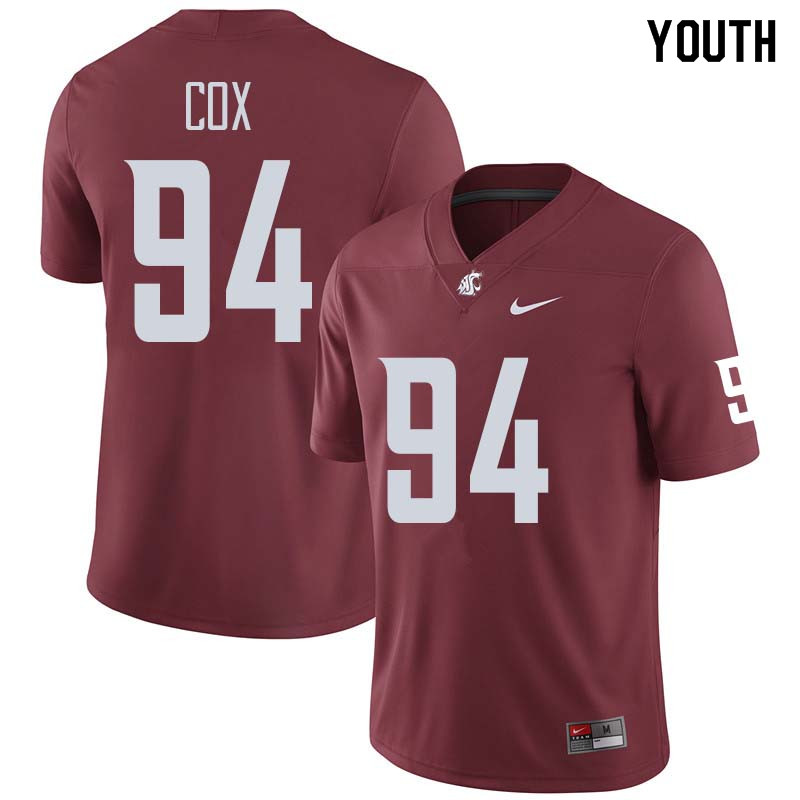 Youth #94 Mitchell Cox Washington State Cougars College Football Jerseys Sale-Crimson