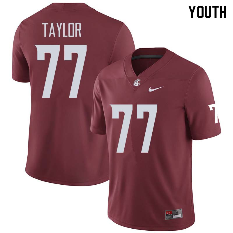 Youth #77 Pake Taylor Washington State Cougars College Football Jerseys Sale-Crimson