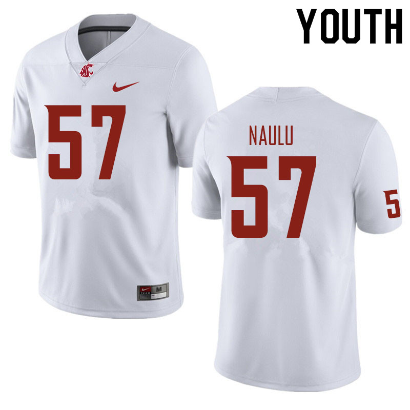 Youth #57 Peni Naulu Washington State Cougars Football Jerseys Sale-White