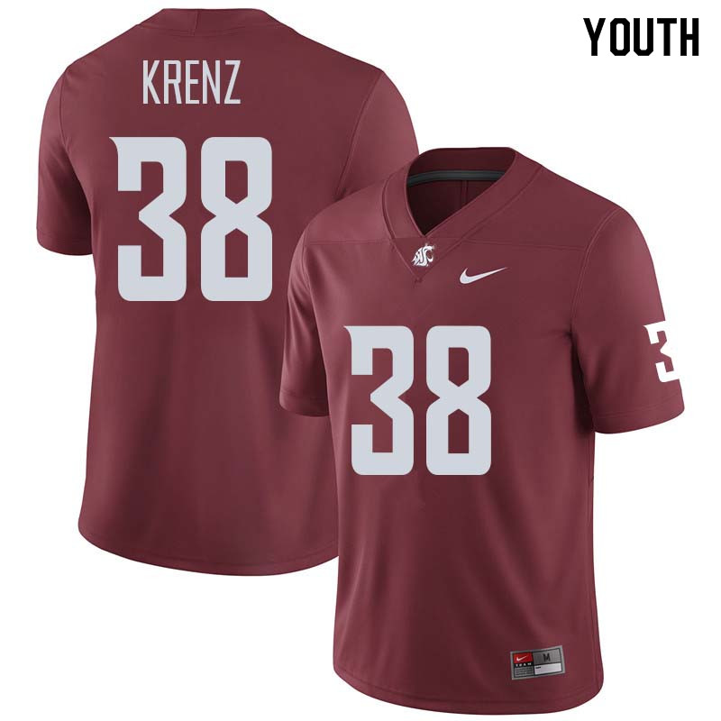 Youth #38 Riley Krenz Washington State Cougars College Football Jerseys Sale-Crimson